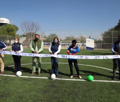 Entregan cancha de futbol 7 en deportiva de San Juanico