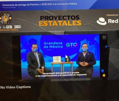 """Recibe Gobierno del Estado de Guanajuato Premio """"u-GOB 2021 a la Innovación en Salud""""."""