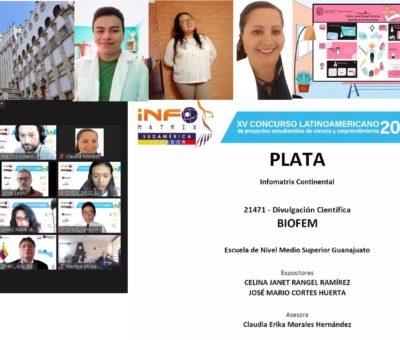 Estudiantes de la ENMS de Guanajuato obtienen medalla de plata en concurso internacional de divulgación científica