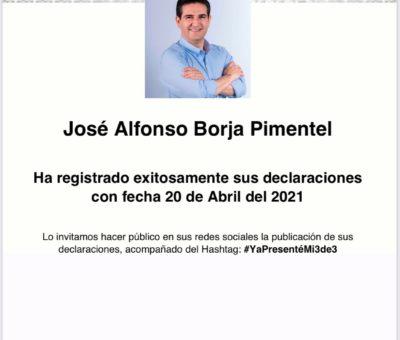 """Presenta Poncho Borja su declaración patrimonial """"3 de 3"""""""